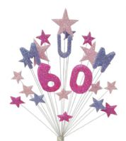 Mum 60th birthday cake topper decoration in shades of pink and lilac - free postage